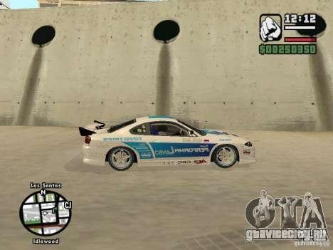 Nissan Silvia S15 Drift для GTA San Andreas вид сзади слева