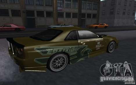 Nissan Skyline GT-R для GTA San Andreas вид слева