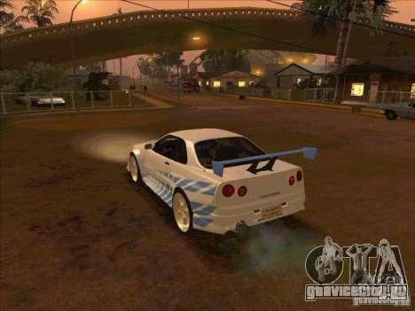 Nissan Skyline GT-R R34 2 Fast 2 Furious для GTA San Andreas вид слева