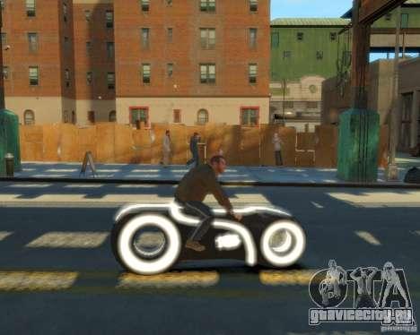Мотоцикл из Трон (белый неон) для GTA 4 вид сзади слева