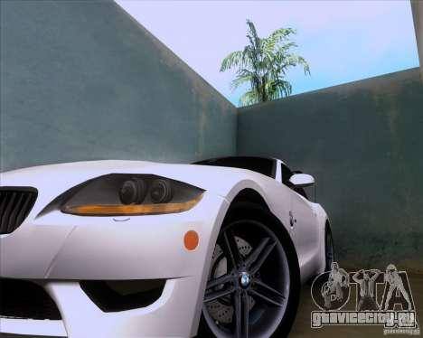 BMW Z4 M Coupe для GTA San Andreas вид изнутри