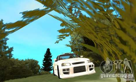 Nissan SkyLine R34 Tunable V2 для GTA San Andreas вид изнутри