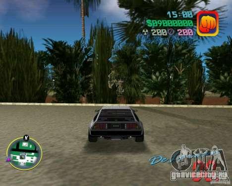DeLorean DMC 12 для GTA Vice City вид изнутри
