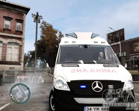 Mercedes Sprinter Turkish Ambulance для GTA 4 вид сзади