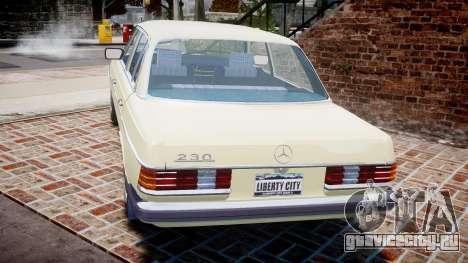Mercedes-Benz 230E 1976 для GTA 4 вид сзади слева
