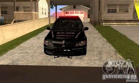 Mitsubishi Lancer Evo VIII MR Police для GTA San Andreas вид сзади слева
