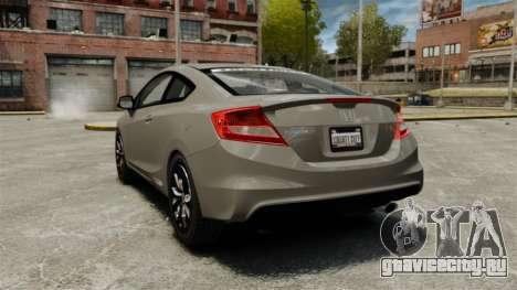 Honda Civic Si Coupe 2012 для GTA 4 вид сзади слева