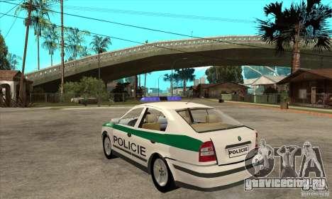 Skoda Octavia Police CZ для GTA San Andreas вид сзади слева