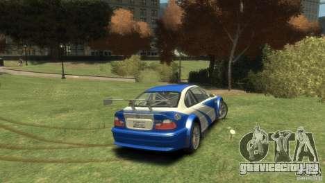 BMW M3 GTR NFS MOST WANTED для GTA 4 вид справа