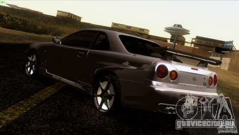 Nissan Skyline R34 Drift для GTA San Andreas вид сзади слева
