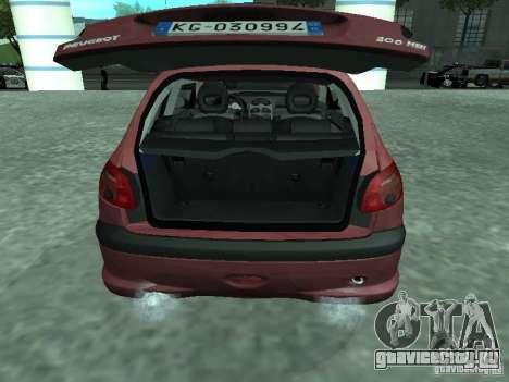 Peugeot 206 HDi 2003 для GTA San Andreas вид сзади