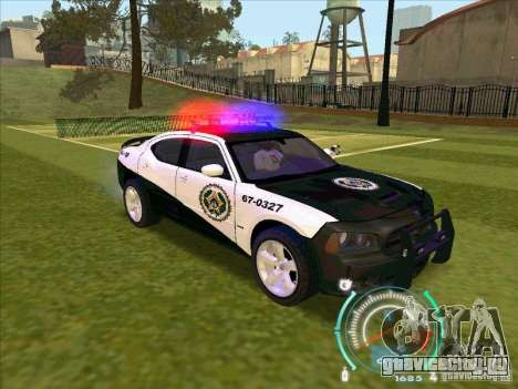 Dodge Charger Policia Civil from Fast Five для GTA San Andreas вид справа