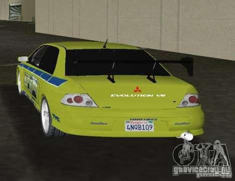 Mitsubishi Lancer Evolution VII для GTA Vice City вид сзади слева