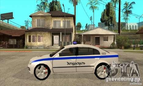 Skoda SuperB GEO Police для GTA San Andreas вид слева