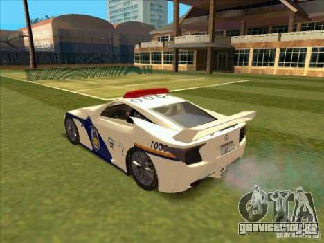 Lexus LF-A China Police для GTA San Andreas вид слева
