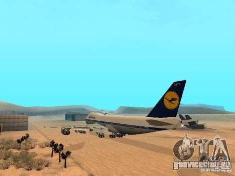 Boeing 747-100 Lufthansa для GTA San Andreas вид сзади слева