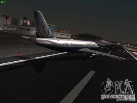 Airbus A319 United Airlines для GTA San Andreas вид справа