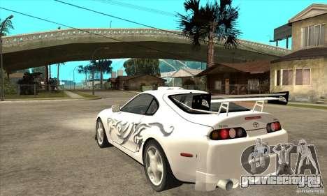 Toyota Supra NFSMW Tunable для GTA San Andreas вид сзади