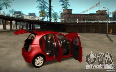 Nissan Micra 2011 для GTA San Andreas вид сзади