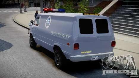 Chevrolet G20 Police Van [ELS] для GTA 4 вид сзади слева