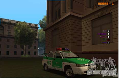 ВАЗ 2112 YPX Police для GTA San Andreas вид изнутри