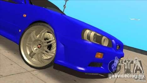 Nissan Skyline R34 FNF4 для GTA San Andreas вид изнутри