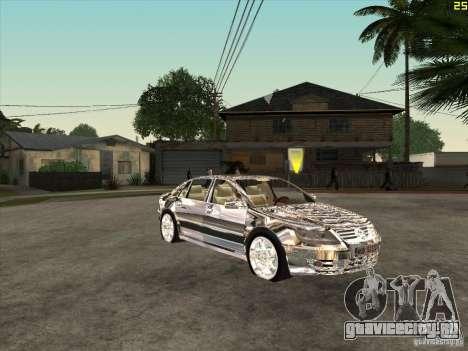 Volkswagen Phaeton хромированный для GTA San Andreas вид сзади