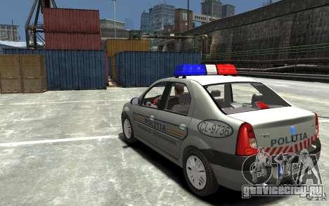 Dacia Logan Prestige Politie для GTA 4 вид сзади слева