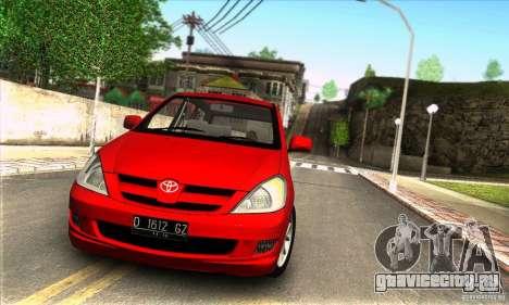 Toyota Kijang Innova 2.0 G для GTA San Andreas вид сзади слева