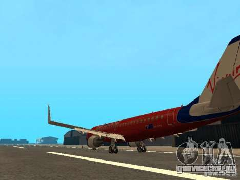 Embraer ERJ 190 Virgin Blue для GTA San Andreas вид сзади слева