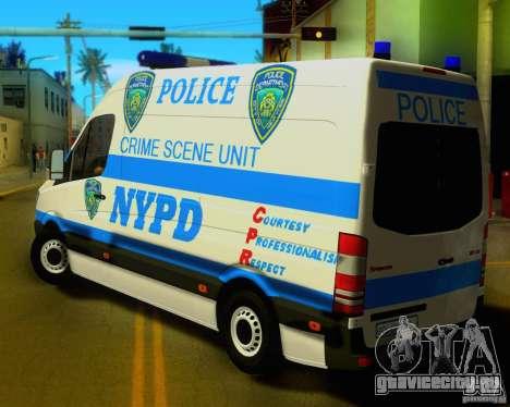 Mercedes Benz Sprinter NYPD police для GTA San Andreas вид сзади слева