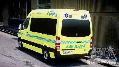 Mercedes-Benz Sprinter PK731 Ambulance [ELS] для GTA 4 вид сзади слева