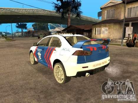 Mitsubishi Lancer X Police Indonesia для GTA San Andreas вид слева