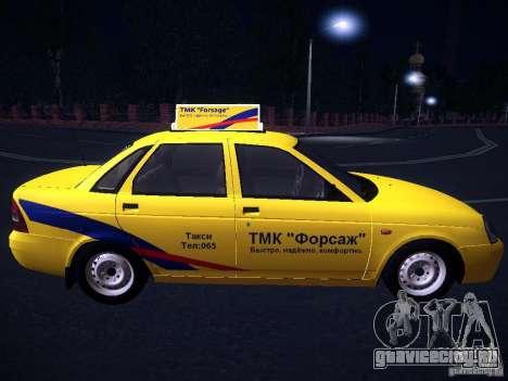 ВАЗ 2170 Приора Такси ТМК Форсаж для GTA San Andreas вид изнутри