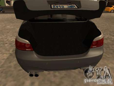 BMW M5 E60 2009 v2 для GTA San Andreas вид снизу