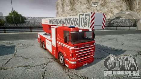 Scania Fire Ladder v1.1 Emerglights blue-red ELS для GTA 4 вид изнутри