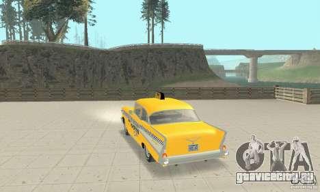 Chevrolet Bel Air 4-door Sedan Taxi 1957 для GTA San Andreas вид сзади слева