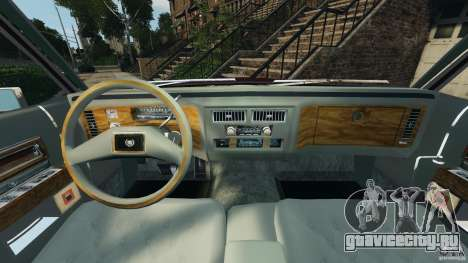 Cadillac Fleetwood Brougham Delegance 1986 для GTA 4 вид изнутри