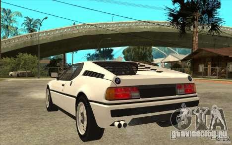 BMW M1 1981 для GTA San Andreas вид сзади слева