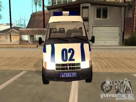 ГАЗ 2217 соболь МИЛИЦИЯ для GTA San Andreas вид справа