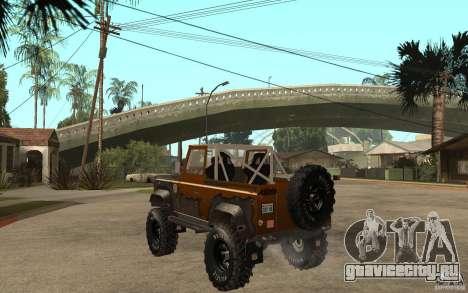 Land Rover Defender Extreme Off-Road для GTA San Andreas вид сзади слева
