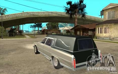 Cadillac Fleetwood 1985 Hearse Tuned для GTA San Andreas вид сзади слева