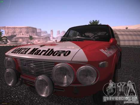 Lancia Fulvia Rally Marlboro для GTA San Andreas вид сзади слева