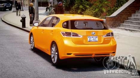Lexus CT200h 2011 для GTA 4 вид сзади слева