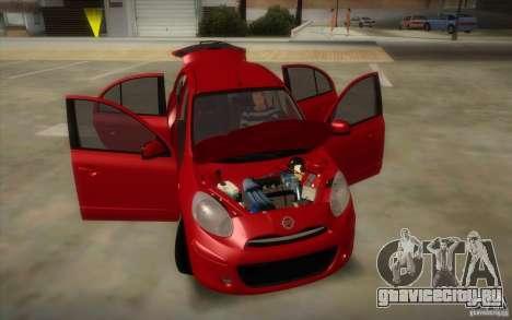 Nissan Micra 2011 для GTA San Andreas вид изнутри