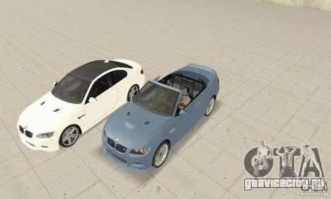 BMW M3 2008 для GTA San Andreas вид сзади слева