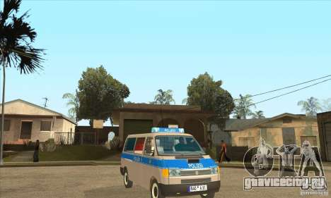 Volkswagen Transporter T4 German Police для GTA San Andreas вид сзади
