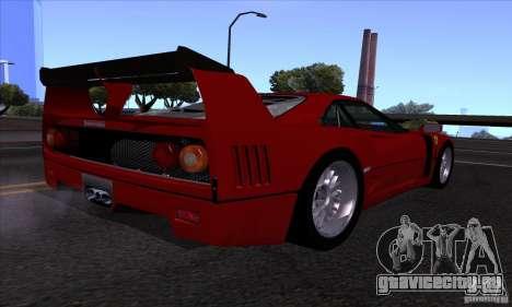 Ferrari F40 GTE LM для GTA San Andreas вид изнутри