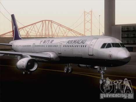 Airbus A321 Air Macau для GTA San Andreas вид сзади слева