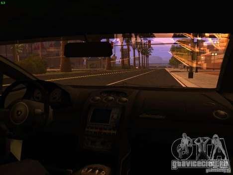 Lamborghini Gallardo Underground Racing для GTA San Andreas вид изнутри